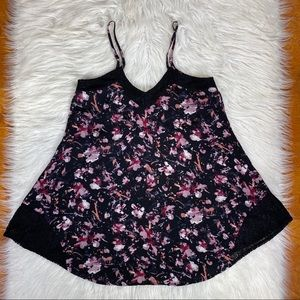 NEW maurices romantic floral black tank lace xs